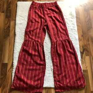Drew Anthropologie NWT bell bottom striped linen blend pants size small